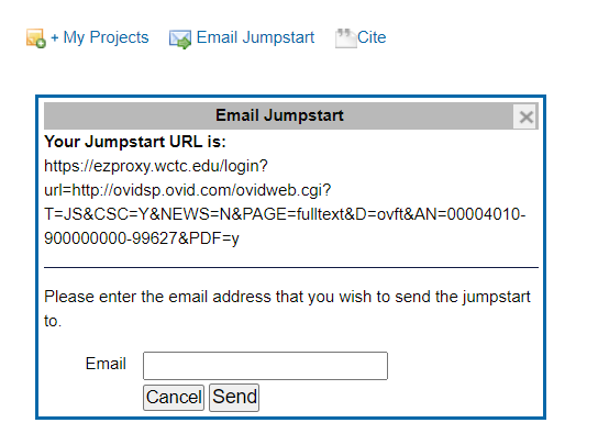Ovid link email jumpstart