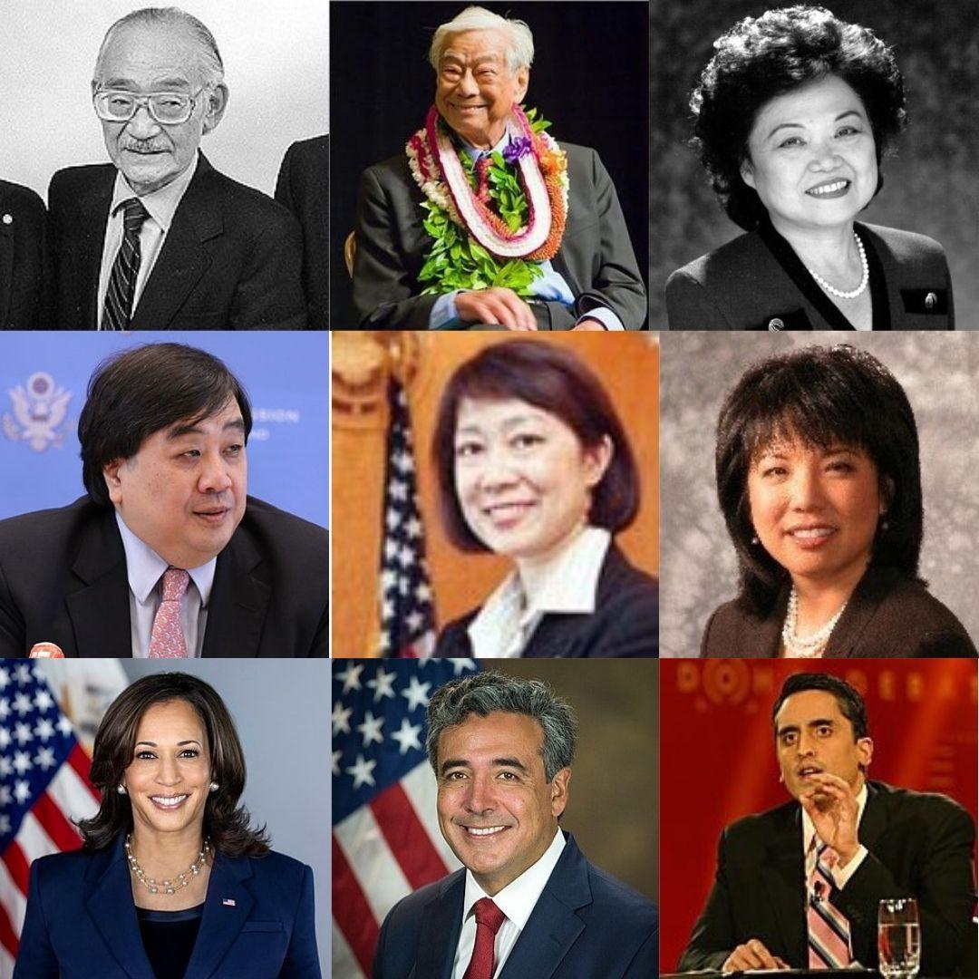 Photos of: Minoru Yasui; William S. Richardson; Patsy Mink; Harold Konju Koh; Carol Lam; Debra Wong Yang; Kamala Harris; Noel Fancisco; Arsalan Iftikhar
