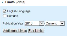 Image of Additional Limits in Medline