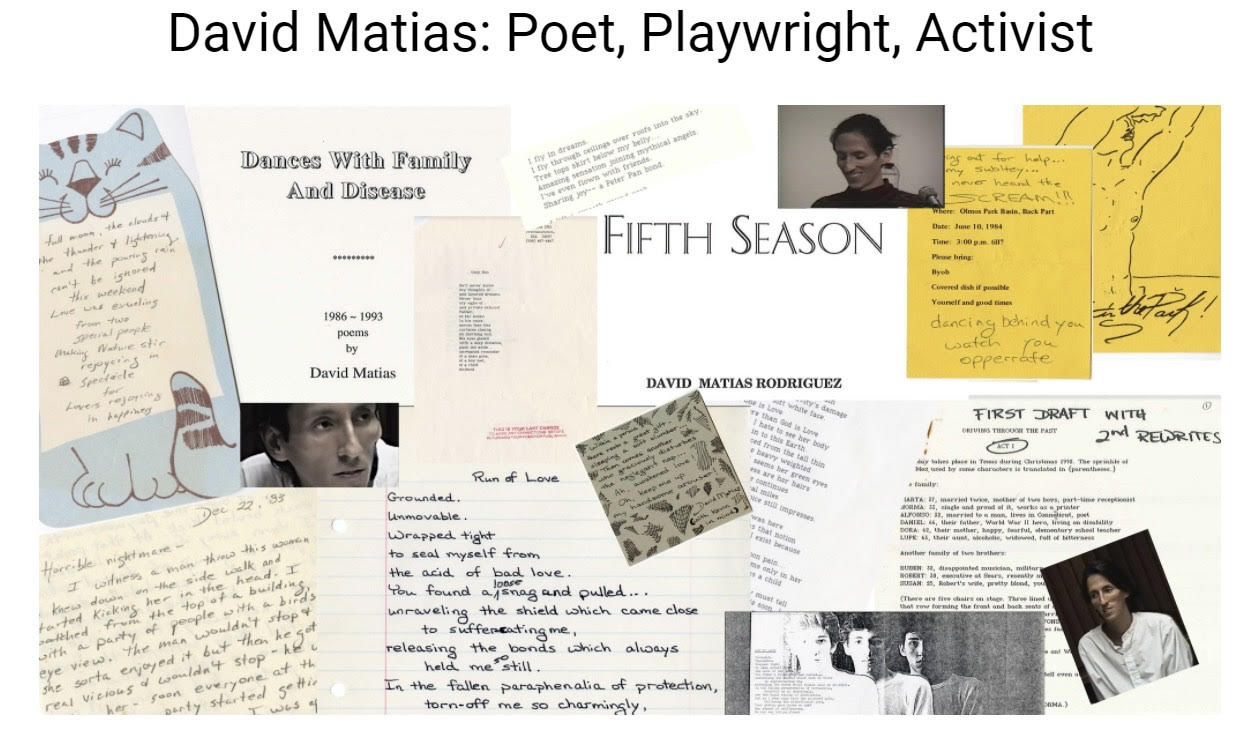 Collage of poems, documents, and pictures relating to David Matias.