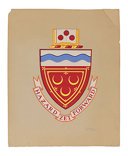 Seton Hall University Coat-of-Arms by William F.J. Ryan, mid 20th century, gouache on board – Seton Hall University Permanent Collection