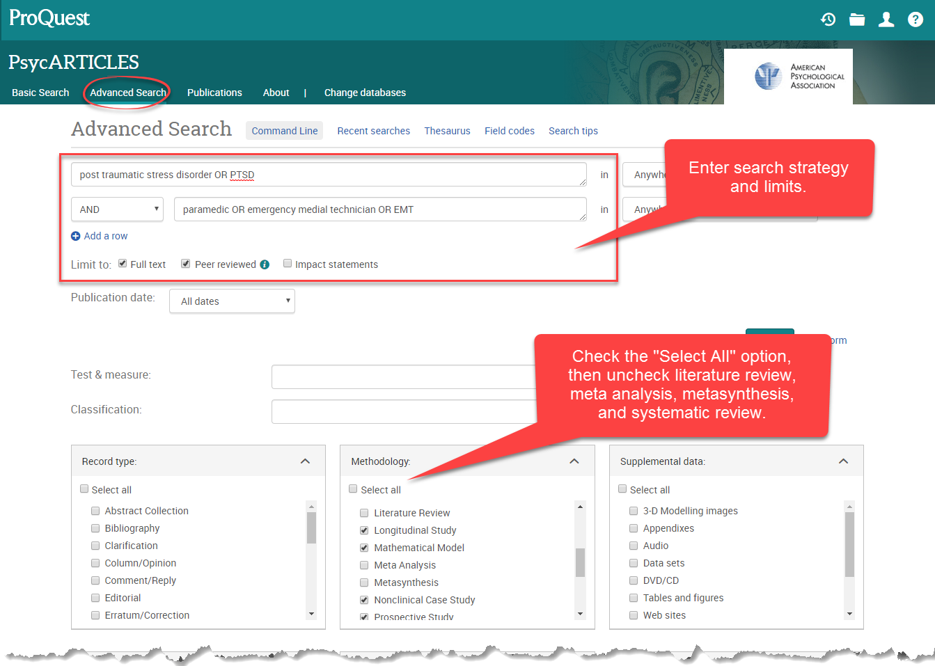 Screen capture of PsycARTICLES search screen