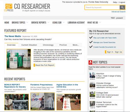 CQ Researcher homepage