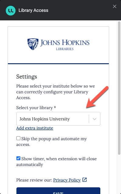Library Access Settings