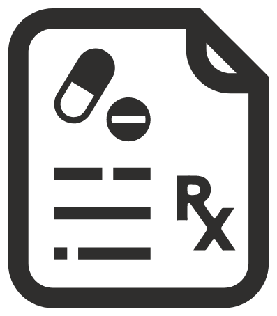 """graphic with two pills and the letters """"Rx"""""""