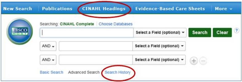 CINAHL Search Boxes and Search History