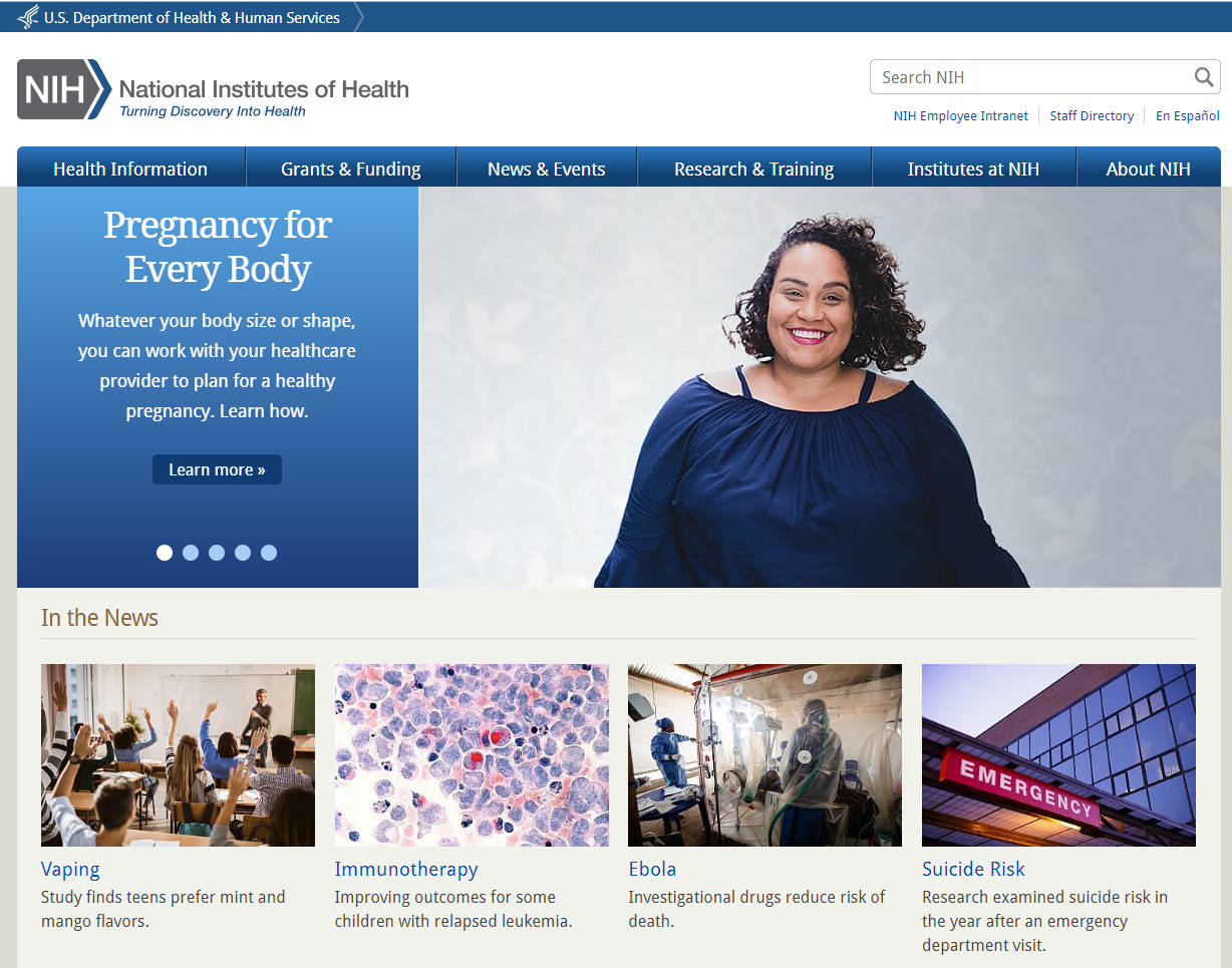 National Institutes of Health website