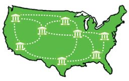 US map linking libraries