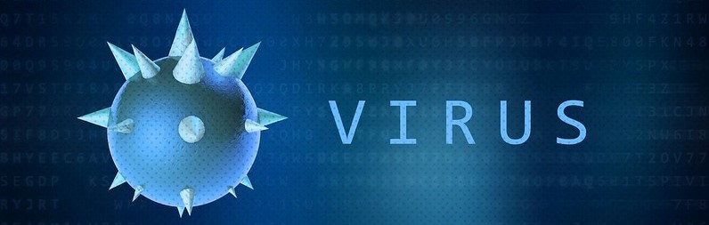 """Light blue spherical virus with spikes next to the word """"virus."""""""