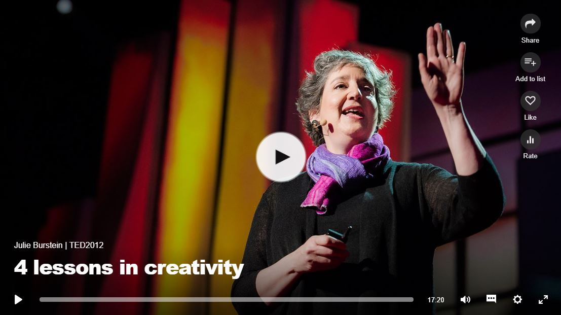 "Tedtalk video titled ""4 Lessons in creativity"". Click to listen"