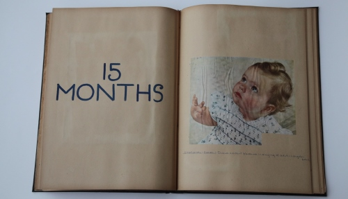 Pages of a child development book 15 months baby