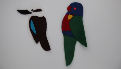Coloured felt finger puppets kookaburra and parrot