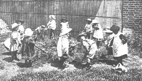 Kids gardening 1908 at Franklin Street kindy