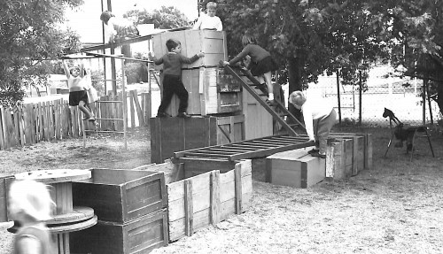 Kids climbing at kindy 1960s