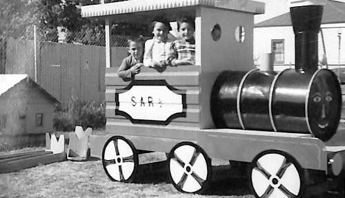 Kindy kids in a life-size play train