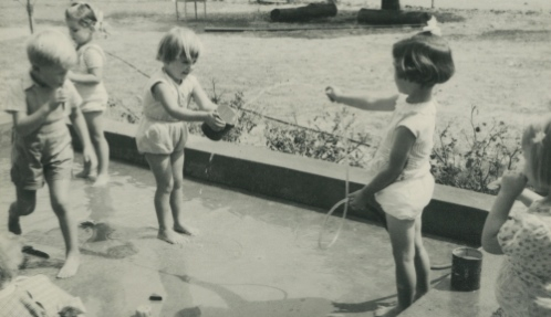 Kids playing with water Netherby 1954
