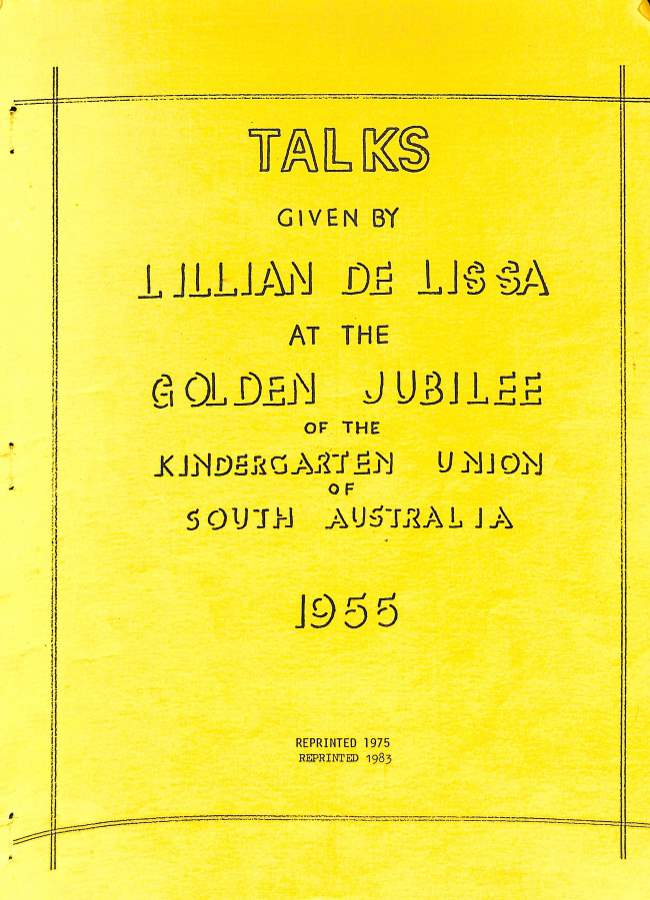 Cover of Talks by De Lissa Golden Jubilee 1955