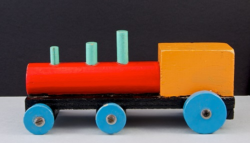Bright wooden toy train