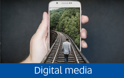 Image of photoshopped train tracks coming out of smartphone with person walking along them. Attribution: [David, 'Manipulation, Smartphone, Gleise, Run', CC License: CC0 1.0, Source: https://pixabay.com/en/manipulation-smartphone-gleise-run-2507499/]