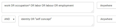 Example search combining synonyms for 'employment' with OR and then using AND to add the concept of 'identity' [Image source: ProQuest and UniSA Library]
