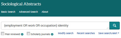 Example Basic Search in Sociological Abstracts [Image source: ProQuest and UniSA Library]