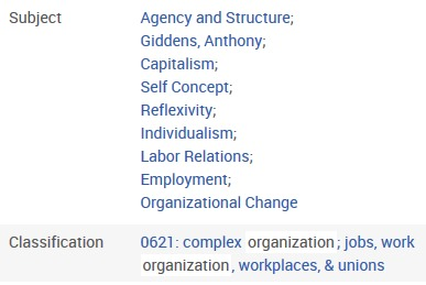 Sociological Abstracts record details: subject headings and classification code [Image source: ProQuest and UniSA Library]