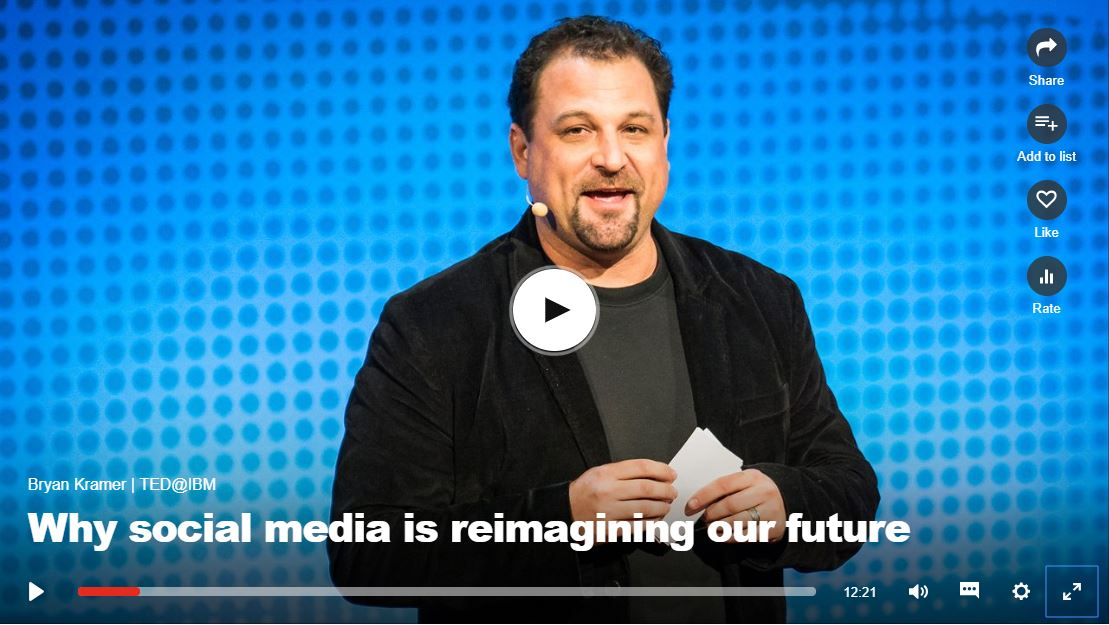 "Video titled ""Why social media is reimaging our future"" Click to listen"