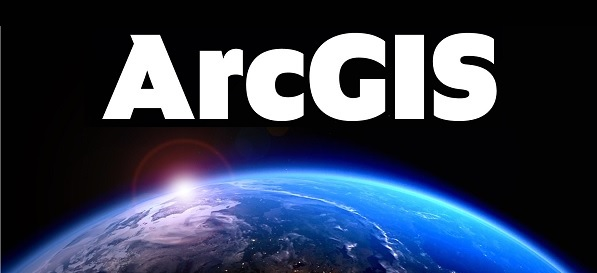 Image of a planet on a black background with the text ArcGIS above it