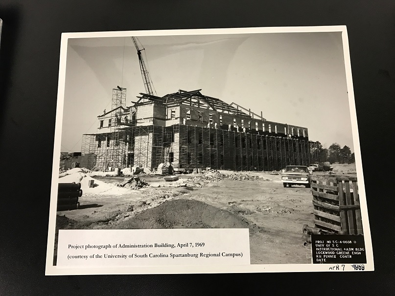 Photo showing the Administration building under construction in April 1969.