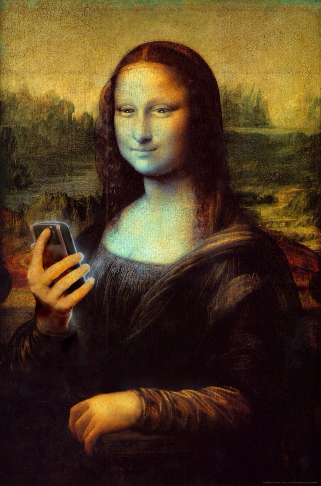 Mona Lisa with Cell Phone