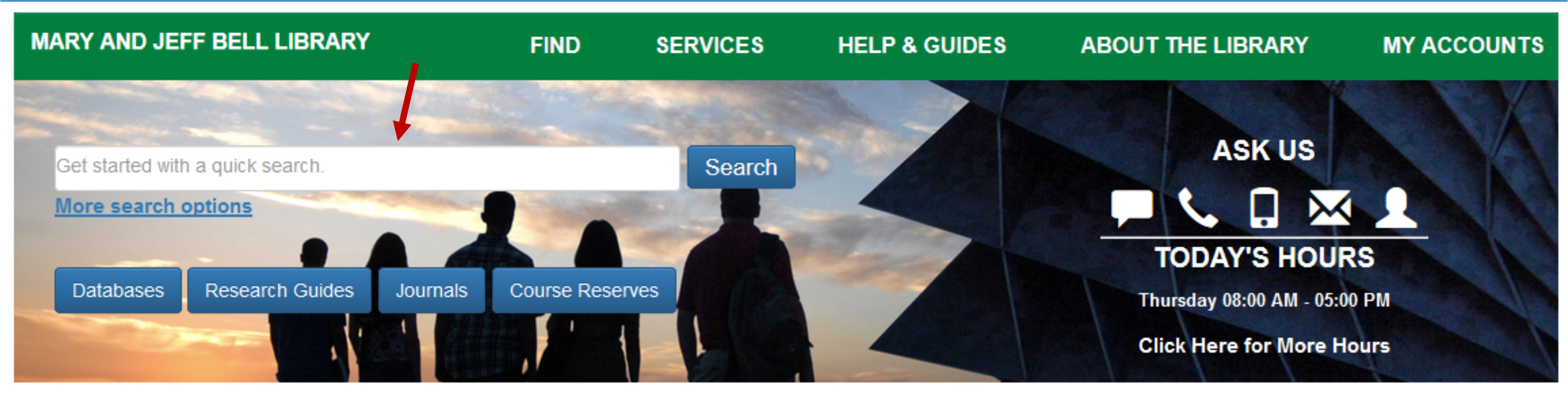 Quick Search on Bell Library's Homepage