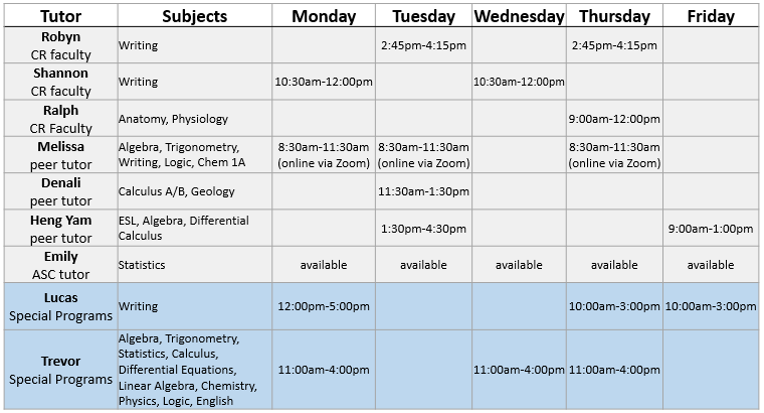 Fall 2021 ASC/Special Programs tutor schedule (updated 8/24/2021)