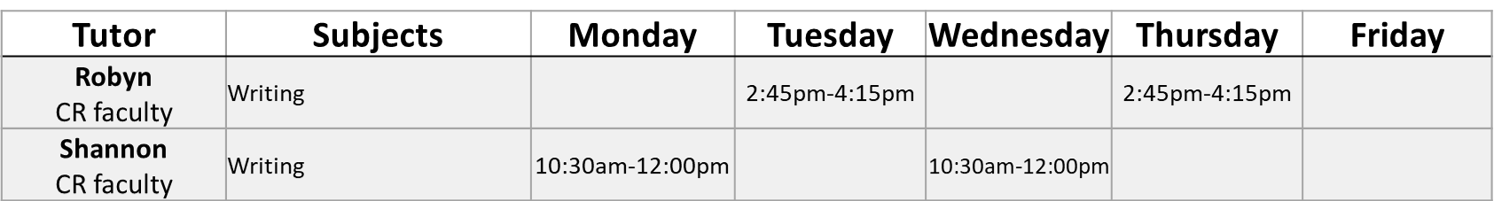 Fall 2021 Writing schedule (updated 8/24/2021)