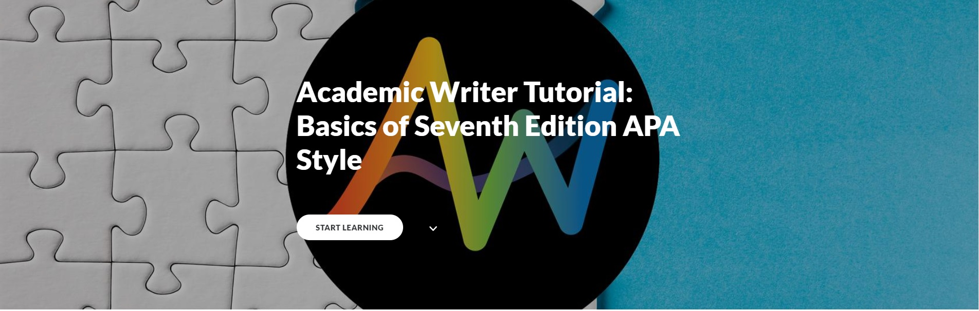 """Assembled puzzle pieces with the phrase """"Academic Writer Tutorial"""""""