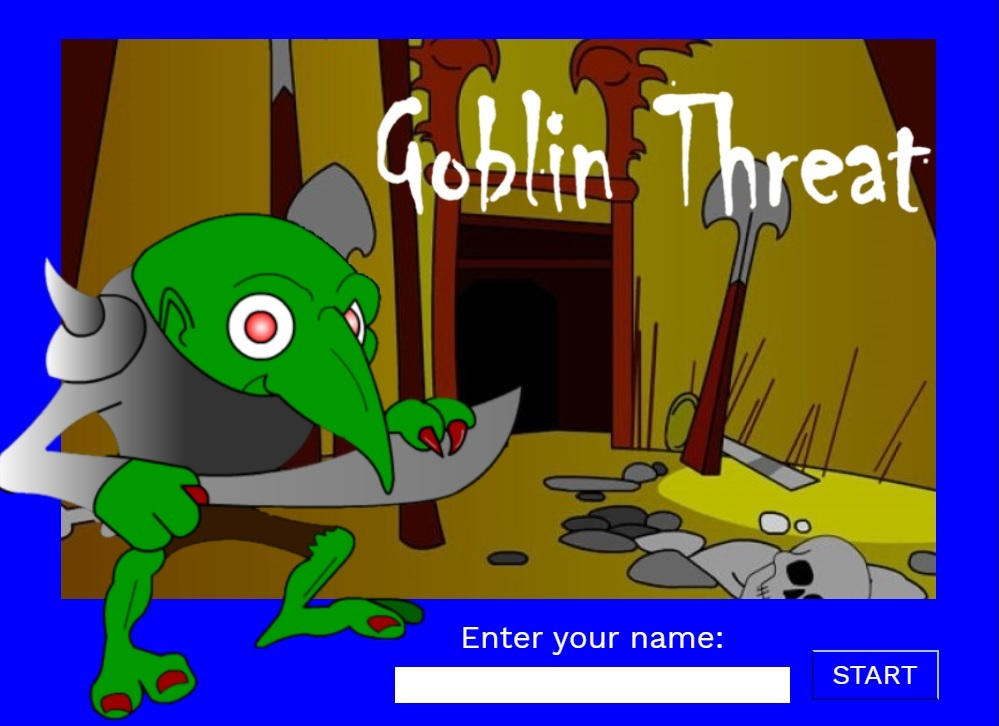 Cartoon picture of goblin with the phrase Goblin Threat