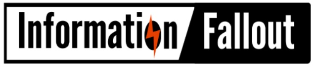 Stylized words: Information Fallout with lightning bolt through the O of information