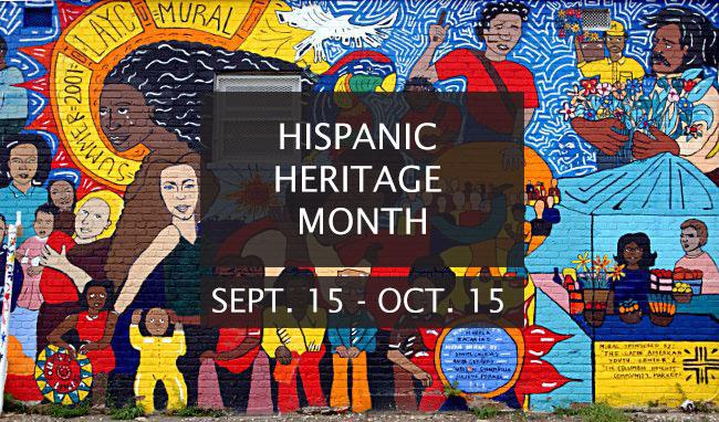 Hispanic Heritage Month September 15 to October 15 mural banner