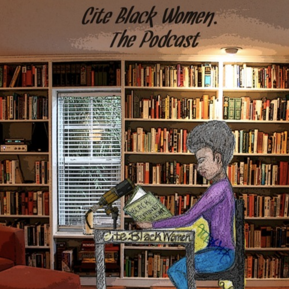 Illustration of a Black woman sitting at a desk in a home library