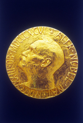 Photographic reproduction of the 1988 Nobel Peace Medal. UN Photo 114493: Nobel Peace Prize Awarded to UN Peacekeeping Forces