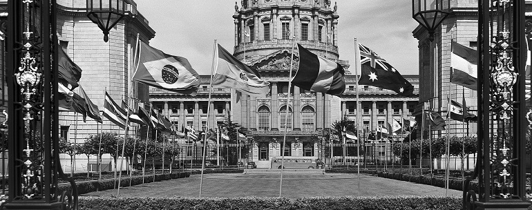 UN Photo 169039: Flags of many nations before San Francisco City Hall, 1945
