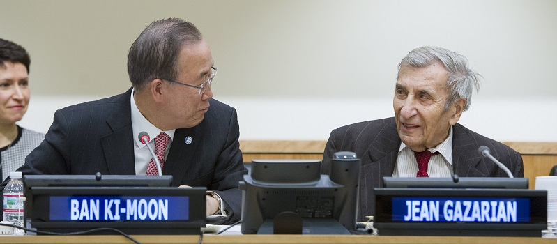 UN Photo 573107: Ban Ki-Moon and Jean Gazarian, UNITAR Fellow and friend of the Library