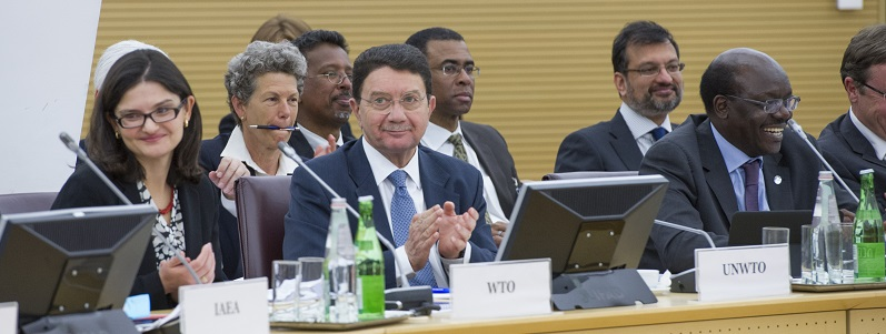 Taleb Rifai, Secretary-General of UNWTO, second from left in front row, at CEB meeting in 2014; UN Photo 587882