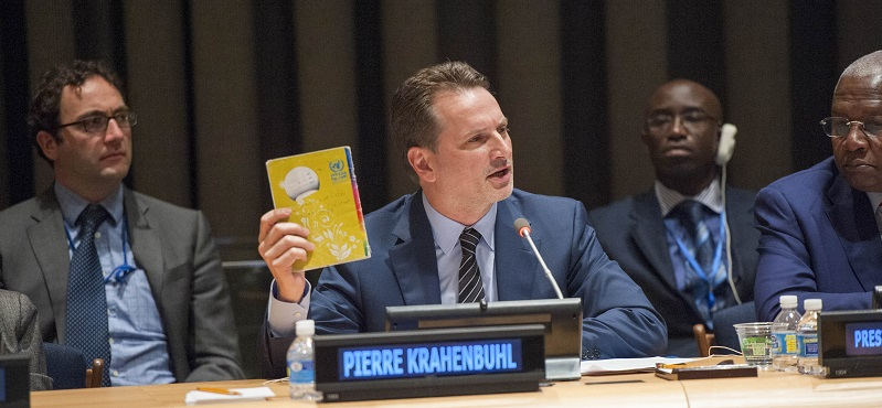 Pierre Krähenbühl, Commissioner-General of the UN Relief and Works Agency for Palestine Refugees in the Near East (UNRWA), speaking at a commemorative event marking the 65th anniversary of UNRWA in 2015; UN Photo 633119