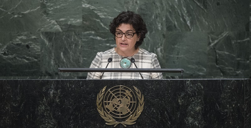 Arancha González , Executive Director of the International Trade Centre (ITC), addresses the United Nations summit for the adoption of the post-2015 development agenda; UN Photo 64498