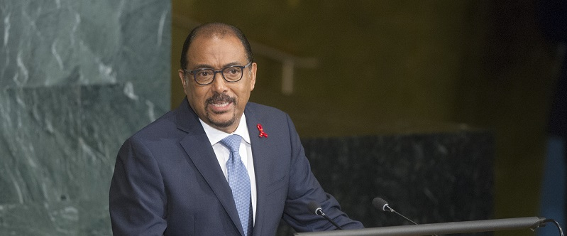 Michel Sidibé, Executive Director of the Joint United Nations Programme on HIV and AIDS (UNAIDS), addresses the General Assembly High-level Meeting on HIV/AIDS; UN Photo 680604