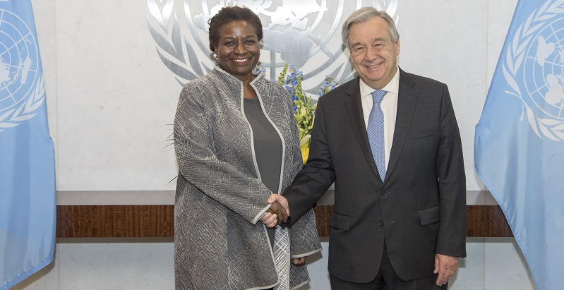 Secretary-General António Guterres (right) swears in Natalia Kanem, Executive Director of the United Nations Population Fund (UNFPA); UN Photo 747049