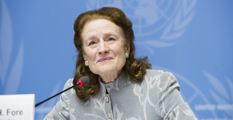 Henrietta H. Fore, new UNICEF Executive Director, briefs the press at the Palais des Nations; UN Photo 748312