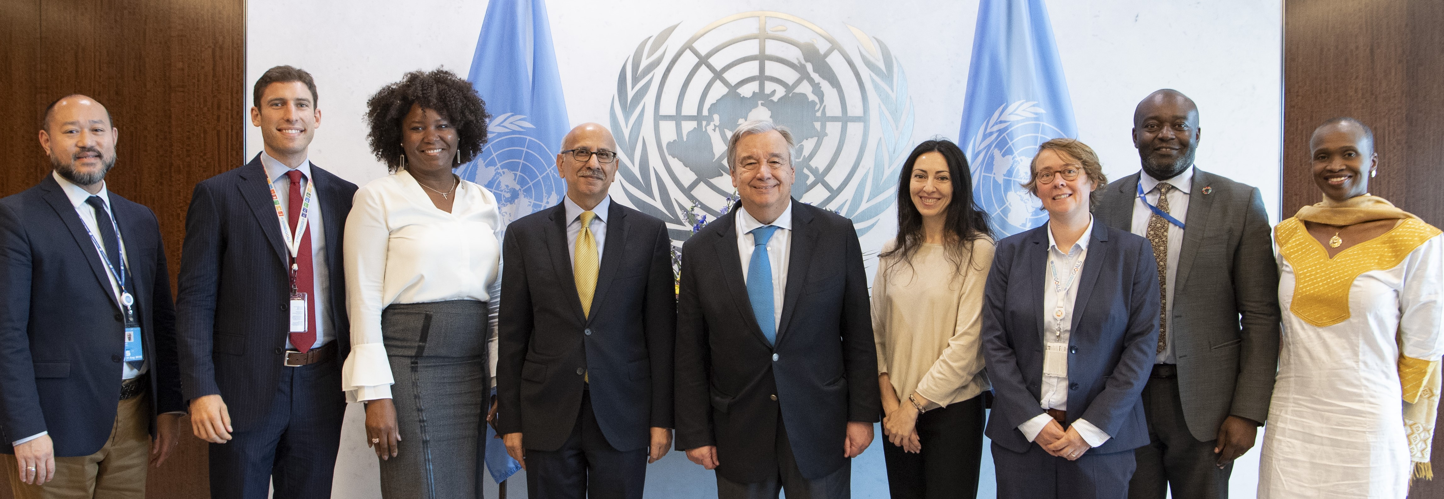 UN Photo 765481: Secretary-General Guterres with staff celebrating the adoption of the General Assembly resolution on the repositioning of the United Nations Development System