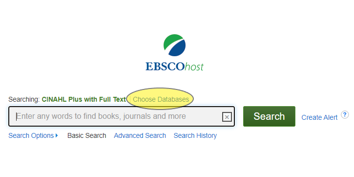 Shows the location of the Choose Databases link above the search bar in EBSCOhost databases