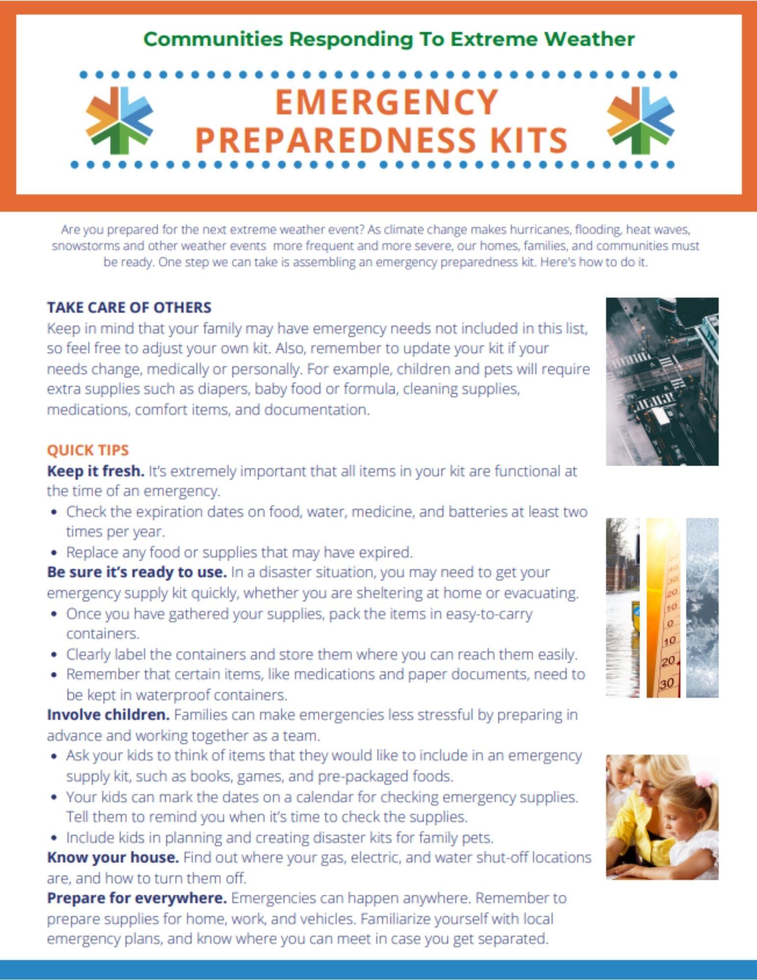 Emergency Preparedness Kits Brochure